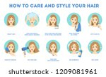 how to care for your hair and... | Shutterstock .eps vector #1209081961
