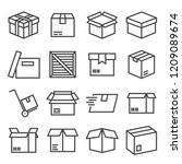vector box and parcel icons set ... | Shutterstock .eps vector #1209089674