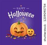 happy halloween beautiful... | Shutterstock .eps vector #1209090754