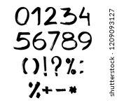 handmade ink brush numbers 1 2...   Shutterstock .eps vector #1209093127