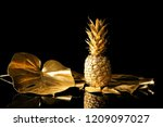 Golden Tropical Leaves With...