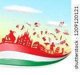 italian symbol on flag with sky ...   Shutterstock .eps vector #1209120121