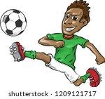 fun nigerian soccer player...   Shutterstock .eps vector #1209121717