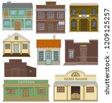 saloon vector wild west housing ... | Shutterstock .eps vector #1209125257