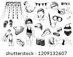 hand drawn set for swimming... | Shutterstock .eps vector #1209132607