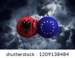 Albania flag and European union political balls smash into each other. 3D Rendering