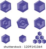 geometrical 3d  blue objects | Shutterstock .eps vector #1209141364