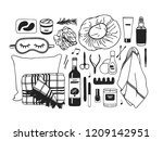 hand drawn set with beauty... | Shutterstock .eps vector #1209142951
