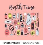 hand drawn set with beauty... | Shutterstock .eps vector #1209143731