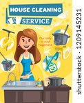 home kitchen and rooms cleaning ... | Shutterstock .eps vector #1209145231