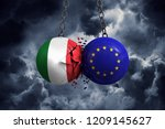 Italy flag and European union political balls smash into each other. 3D Rendering