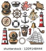 nautical symbols and marine... | Shutterstock .eps vector #1209148444
