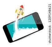 rocket launch on mobile phone.... | Shutterstock .eps vector #1209148621
