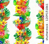 seamless pattern with tropical... | Shutterstock . vector #1209151861