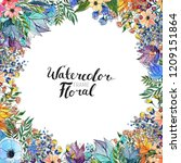 watercolor floral background.... | Shutterstock . vector #1209151864