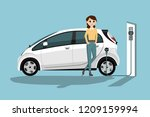 woman charges an electric car... | Shutterstock .eps vector #1209159994