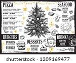 christmas menu. restaurant menu. | Shutterstock .eps vector #1209169477