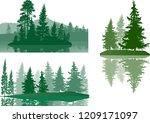 illustration with fir trees set ... | Shutterstock .eps vector #1209171097