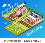 smart farm concept with... | Shutterstock .eps vector #1209178627