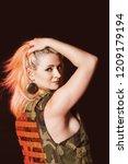portrait of attractive woman in ... | Shutterstock . vector #1209179194