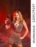 portrait of attractive woman in ... | Shutterstock . vector #1209179197