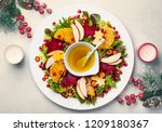 christmas wreath salad with... | Shutterstock . vector #1209180367