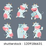 cow cartoon. cute farm milk... | Shutterstock .eps vector #1209186631