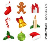 xmas decorations realistic.... | Shutterstock .eps vector #1209187171