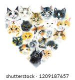 domestic cats. cats background. ... | Shutterstock . vector #1209187657