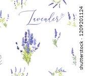 provence lavender seamless...   Shutterstock .eps vector #1209201124
