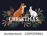 cute red fox  white rabbit ... | Shutterstock .eps vector #1209205861