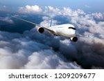 passenger plane in flight.... | Shutterstock . vector #1209209677