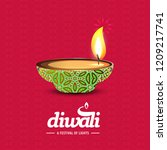 diwali design with pink... | Shutterstock .eps vector #1209217741