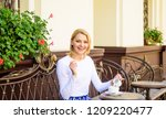 woman have drink cafe terrace... | Shutterstock . vector #1209220477