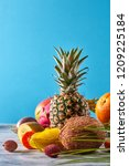creative layout made of fruits... | Shutterstock . vector #1209225184