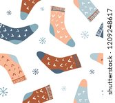winter seamless pattern with... | Shutterstock .eps vector #1209248617