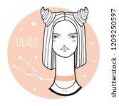 taurus girl. sketch style woman ... | Shutterstock .eps vector #1209250597