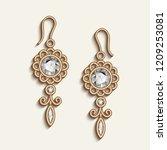 vintage gold jewellery earrings ... | Shutterstock .eps vector #1209253081