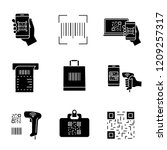 barcodes glyph icons set.... | Shutterstock .eps vector #1209257317
