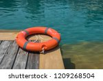 ring buoy swimming pool. | Shutterstock . vector #1209268504