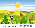 countryside  cows  farmland ... | Shutterstock .eps vector #1209272251