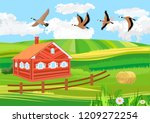 countryside  birds flying ... | Shutterstock .eps vector #1209272254