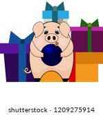 pink pig with a christmas ball... | Shutterstock .eps vector #1209275914