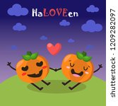 two loving pumpkins on... | Shutterstock .eps vector #1209282097