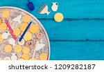 hanukkah dreidels with menorah... | Shutterstock . vector #1209282187