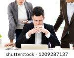 stressed businessman worried... | Shutterstock . vector #1209287137