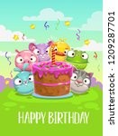 happy birthday greeting card.... | Shutterstock .eps vector #1209287701