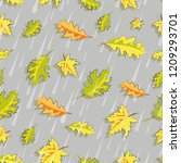 autumn rain. falling leaves.... | Shutterstock .eps vector #1209293701