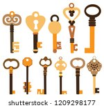 old brown key  collection | Shutterstock .eps vector #1209298177