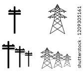 power lines icon  logo on white ... | Shutterstock .eps vector #1209305161